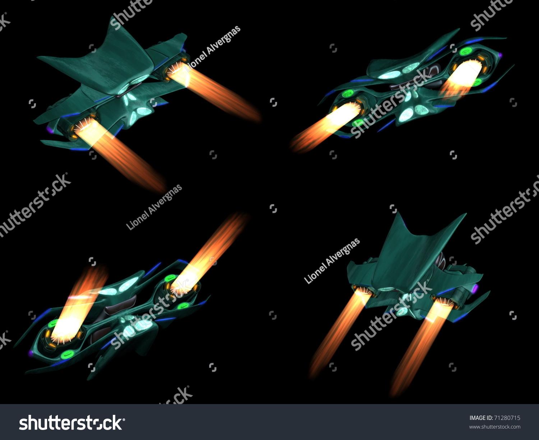 一个外星人太空船在黑色背景上的四回-科技