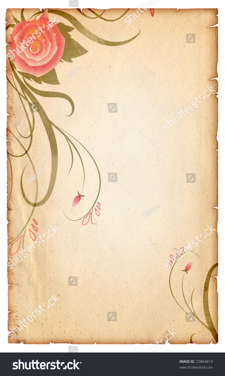 花卉年份背景:旧纸卷轴与玫瑰-背景/素材,插图/剪贴图