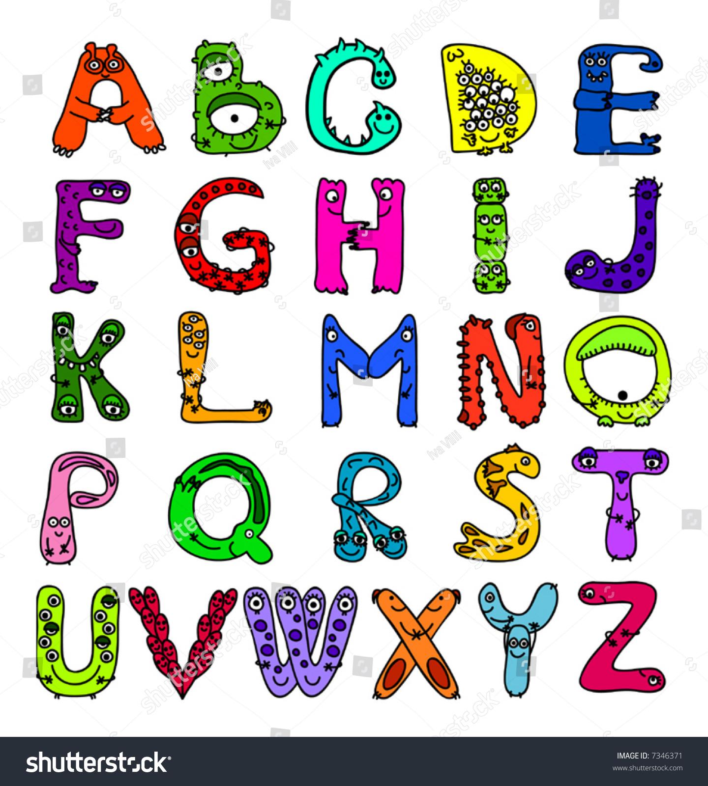 英语字母表的字母形状的怪物-插图/剪贴图,交通运输