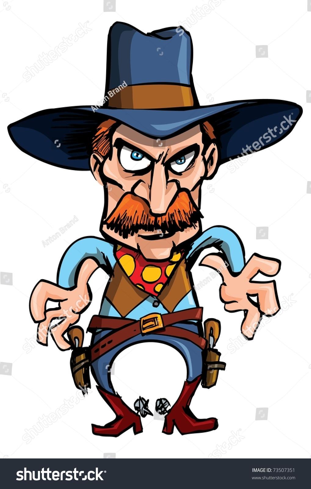 卡通牛仔准备在枪战吸引他的枪-插图/剪贴图