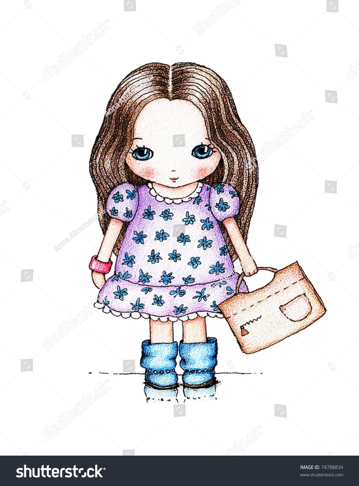 可爱的小女孩在白色背景花裙子和米色的手提包-背景