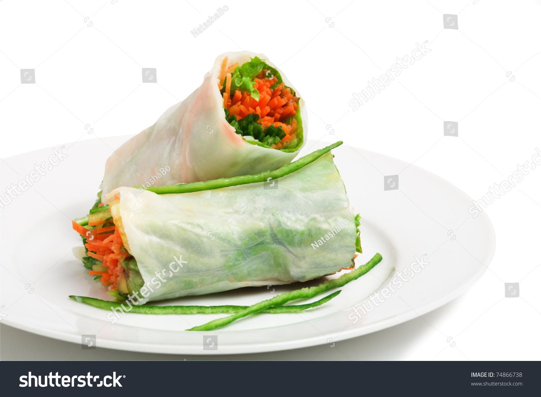 素食春卷胡萝卜和黄瓜-食品及饮料