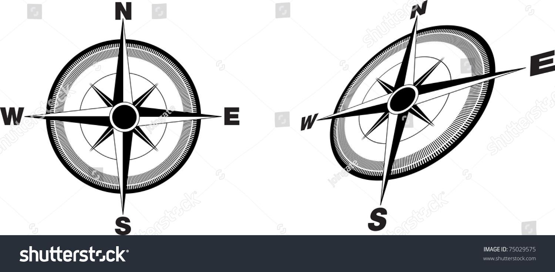 指南针平面和一个角度-插图/剪贴图,符号/标志-海洛()