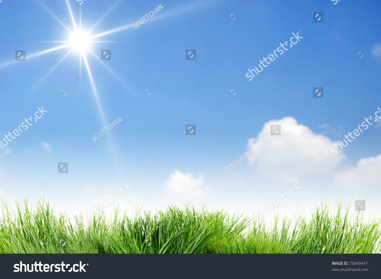 空白湛蓝的天空和太阳-背景/素材