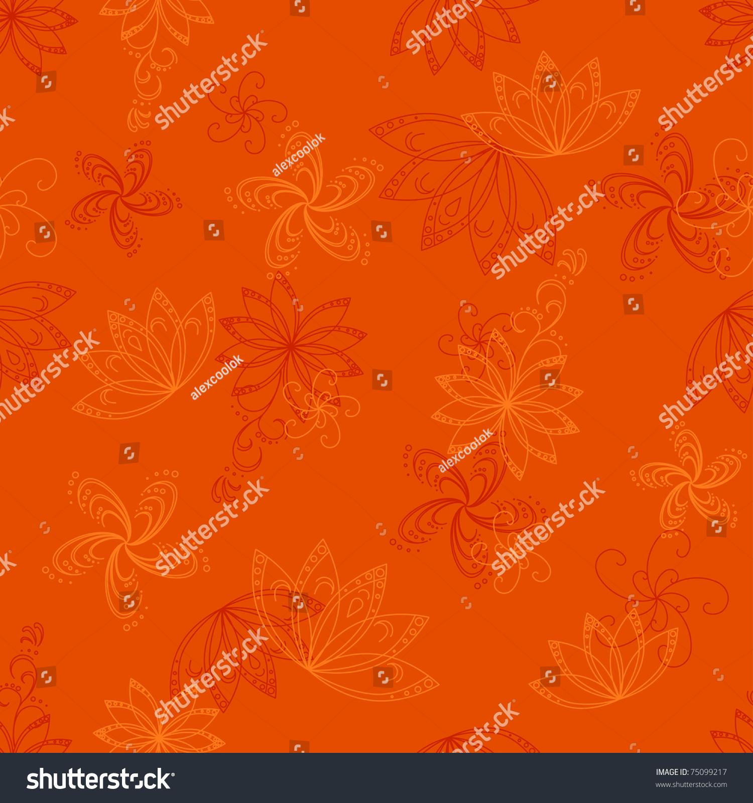 文摘橙色无缝背景矢量图形的花卉图案-背景/素材