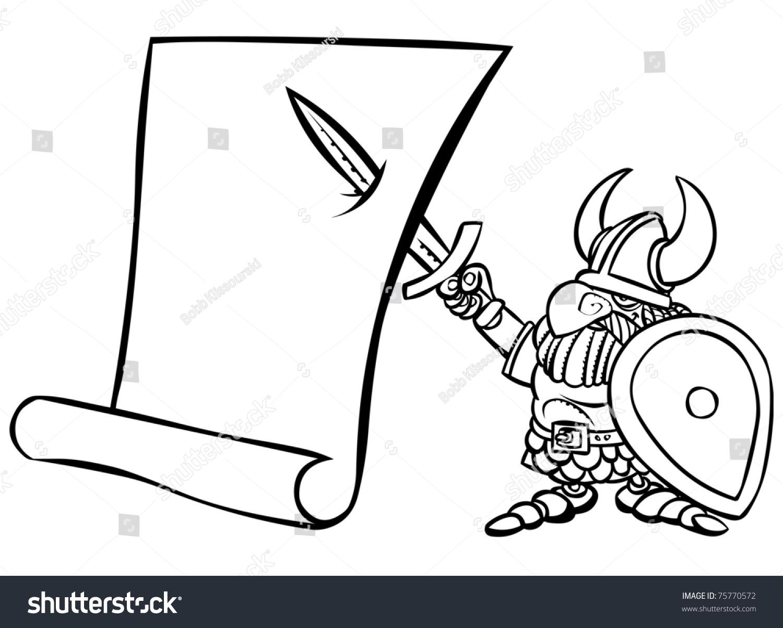 卡通黑白维京战士与滚动.-其它,插图/剪贴图-海洛创意