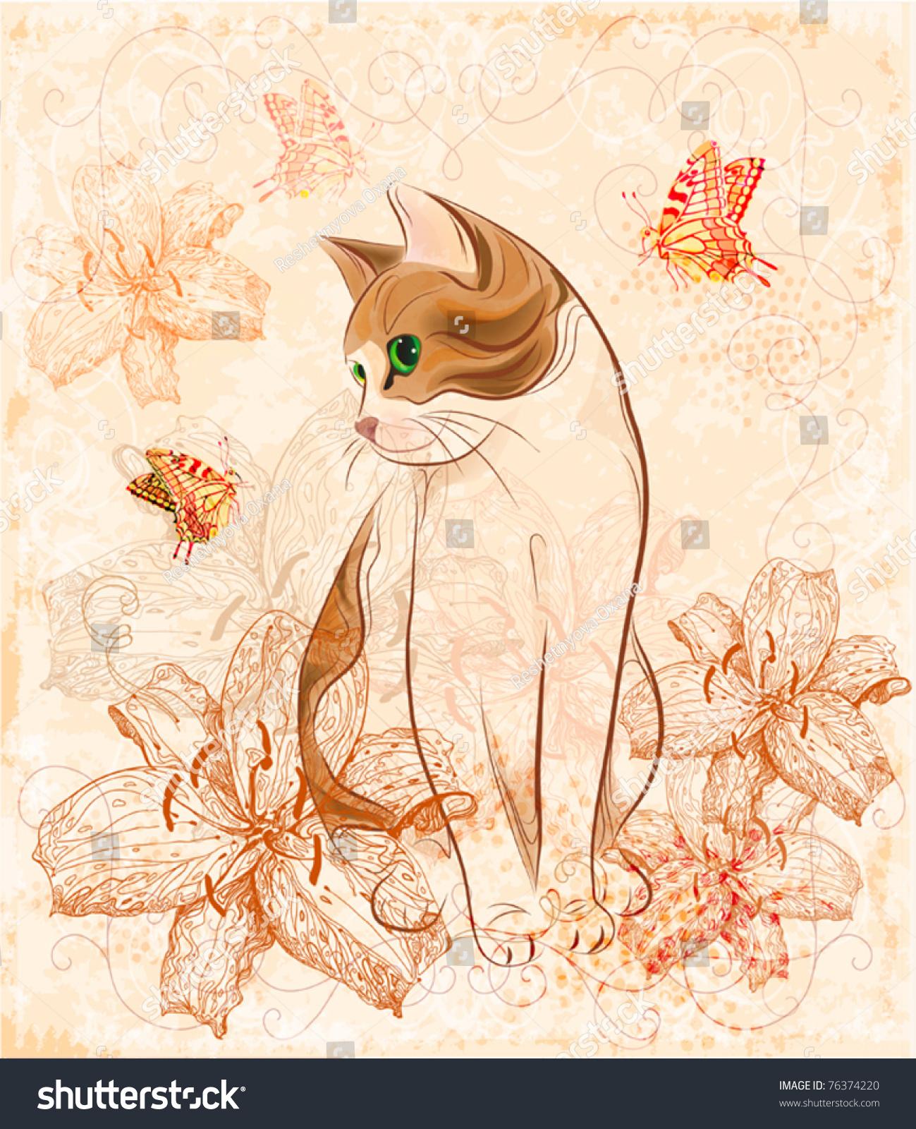的生日贺卡猫和百合花.-复古风格,插图/剪贴图-海洛()
