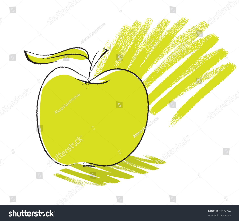 苹果图标,徒手画的素描图