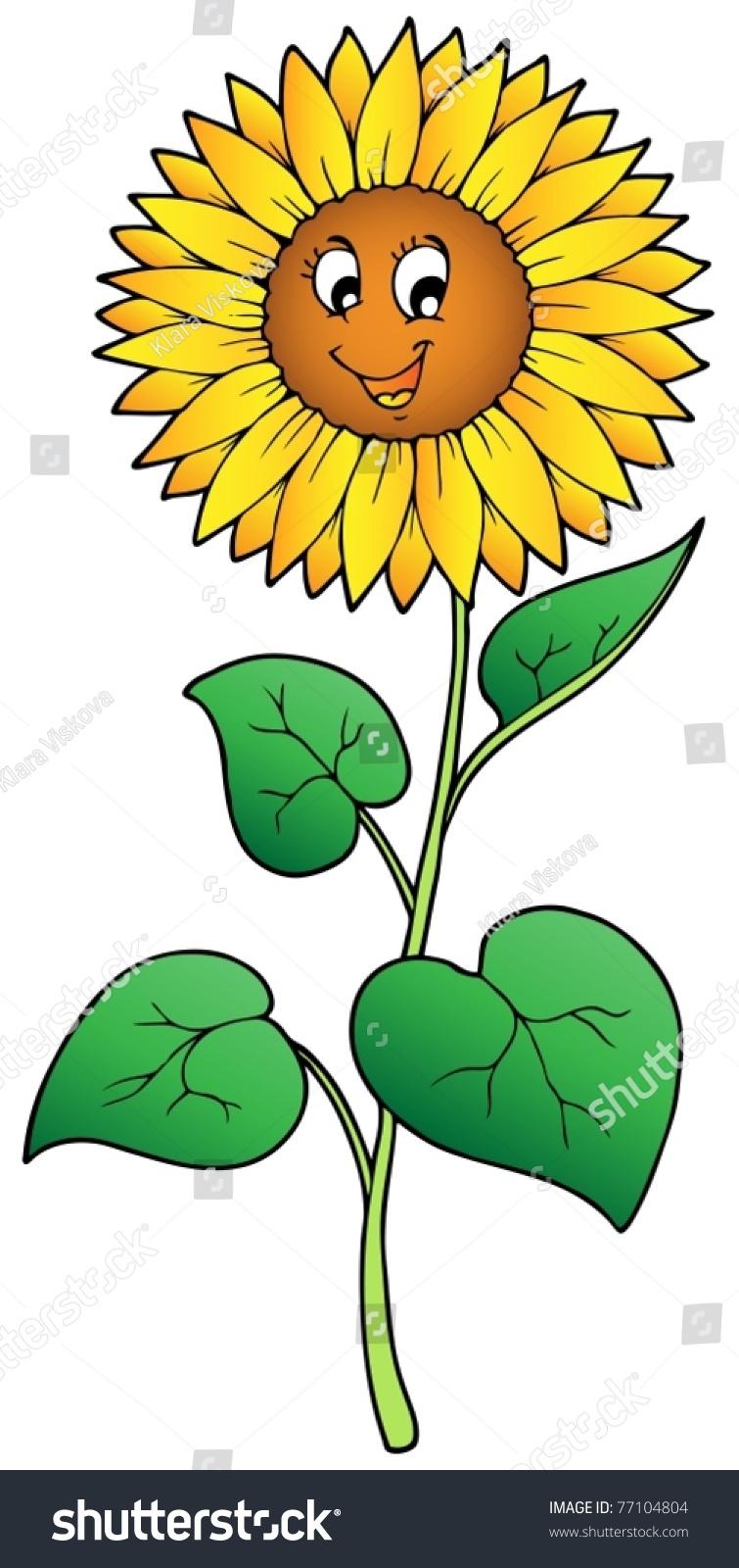 可爱的卡通向日葵——矢量插图