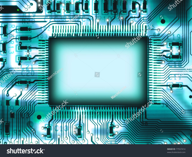 空白电路板上芯片-科技