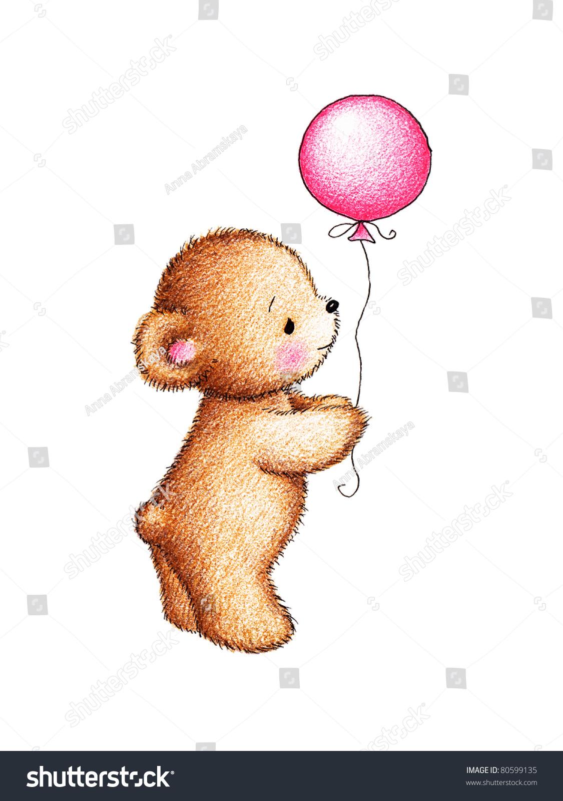 可爱的泰迪熊与粉红色的气球在白色背景-假期