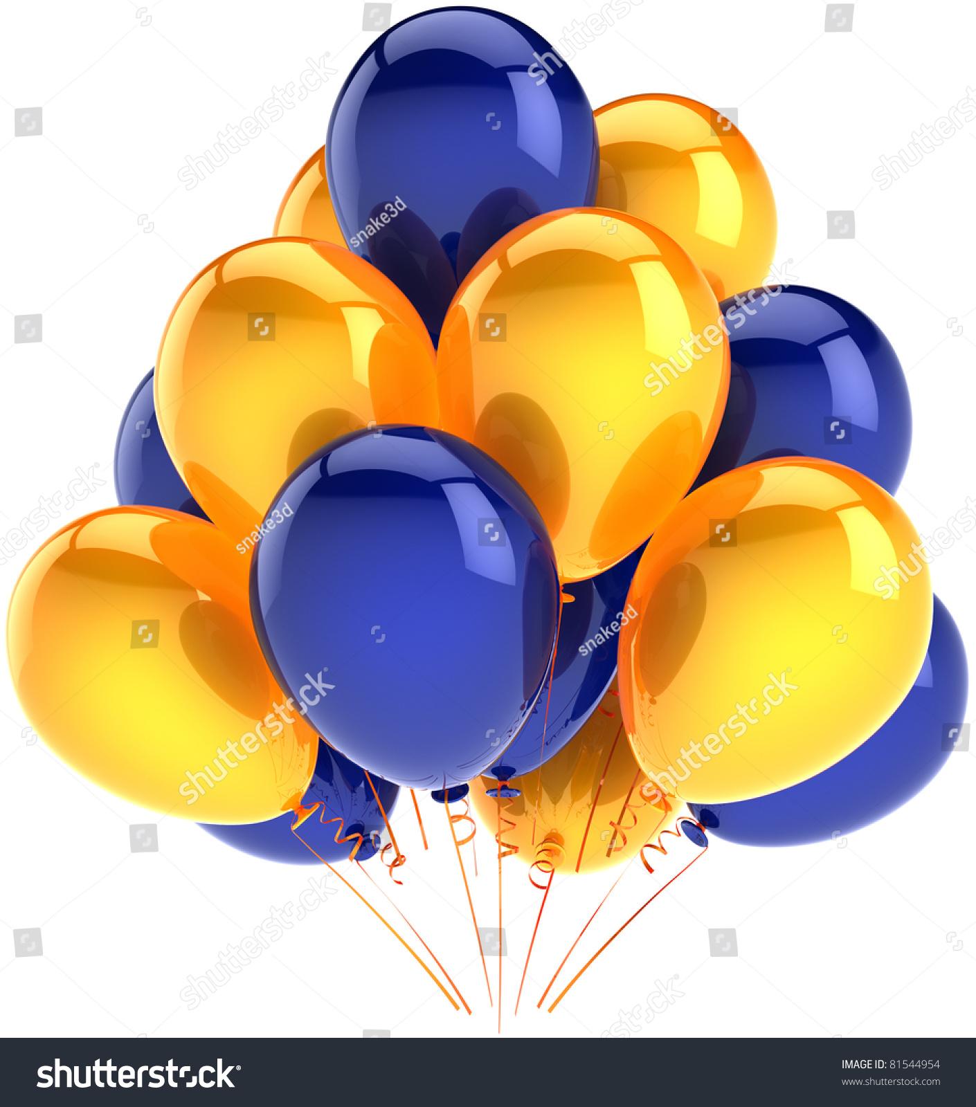 生日快乐气球派对装饰多色串黄色蓝色的气球.周年场合