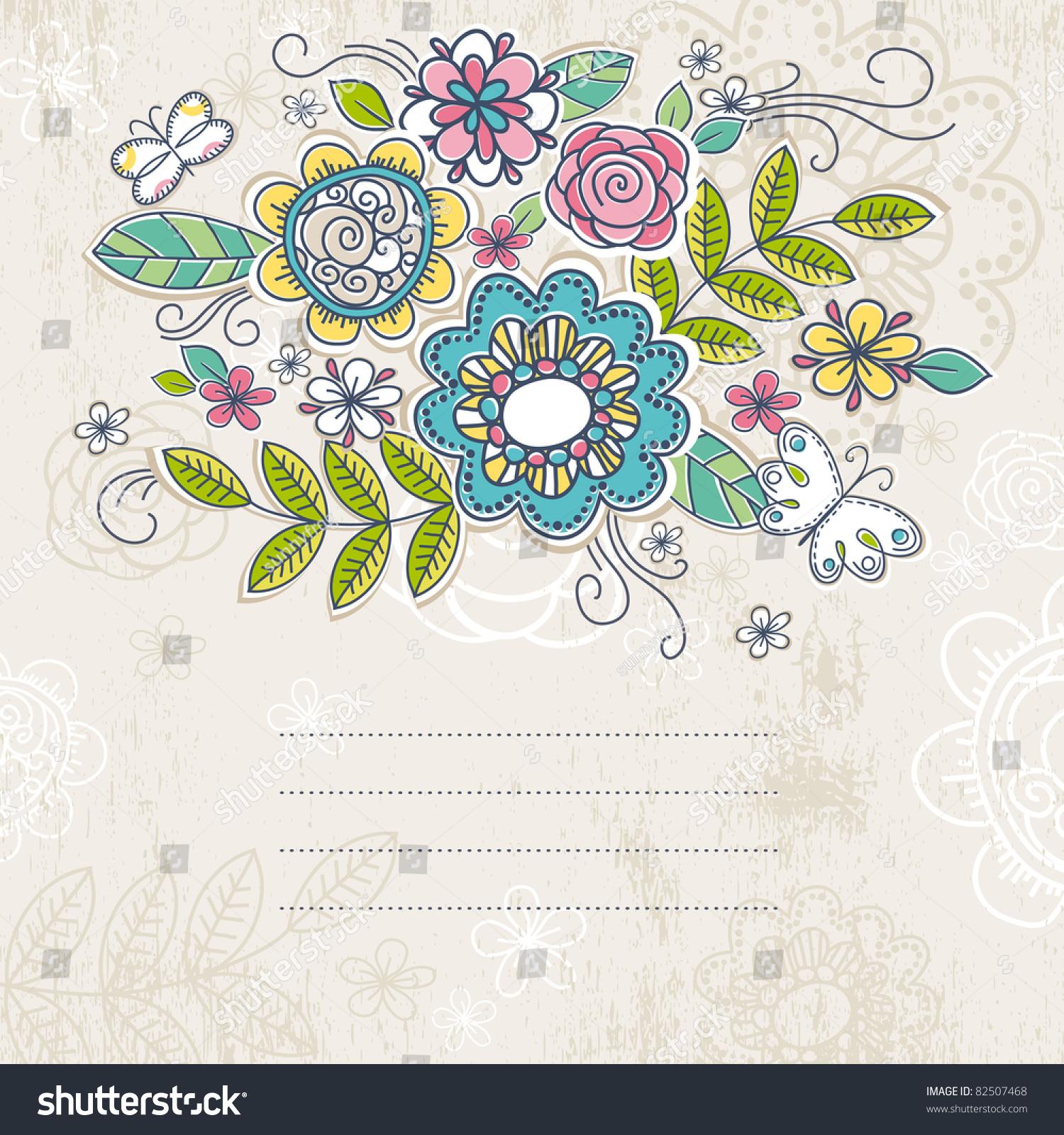 背景的手绘花朵,矢量插图-假期