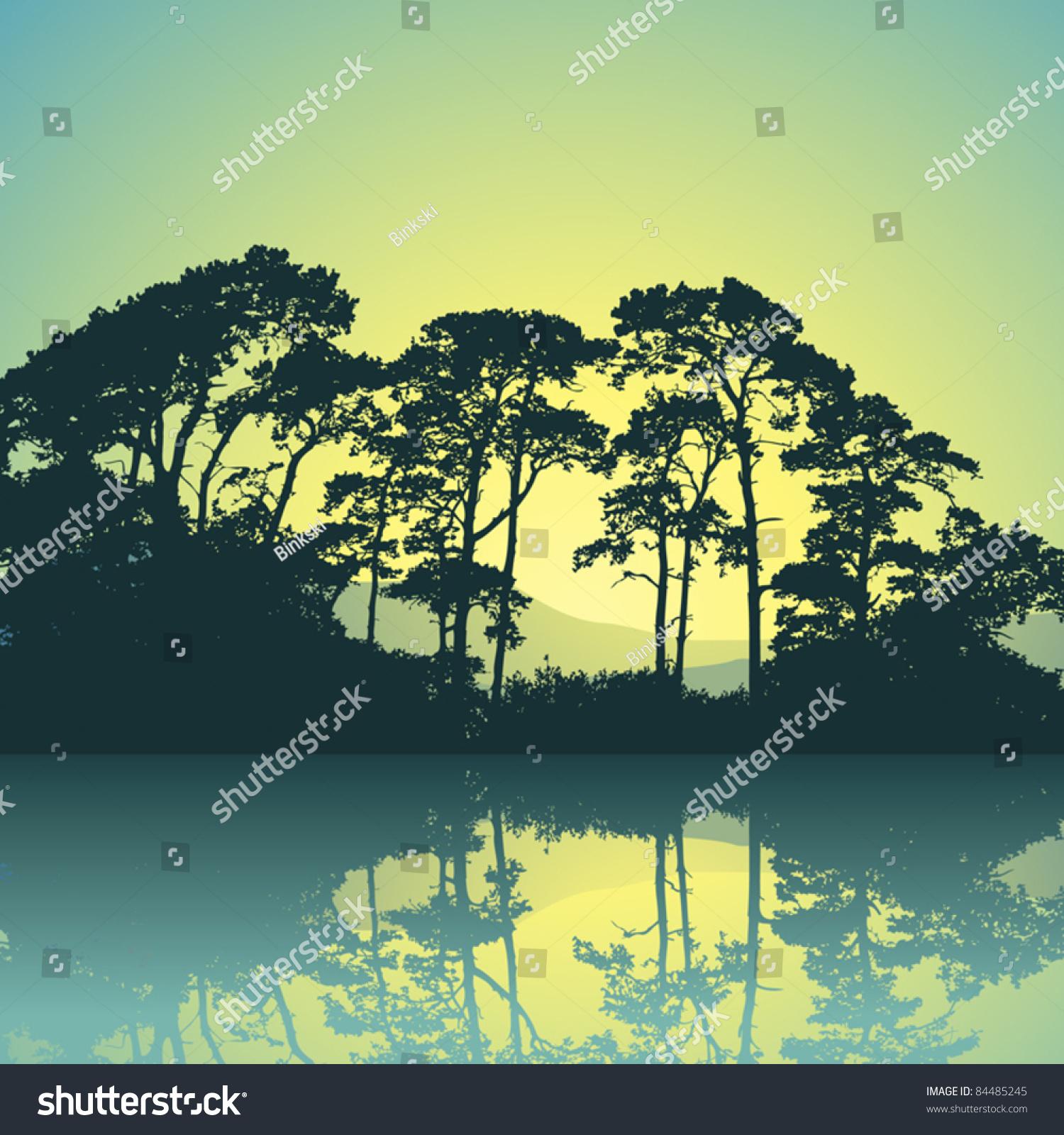 树木的剪影在水的倒影-公园/户外,自然-海洛创意()-合