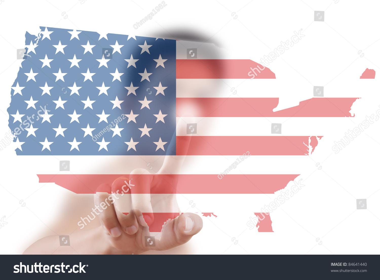 亚洲商人把美国国旗的地图.