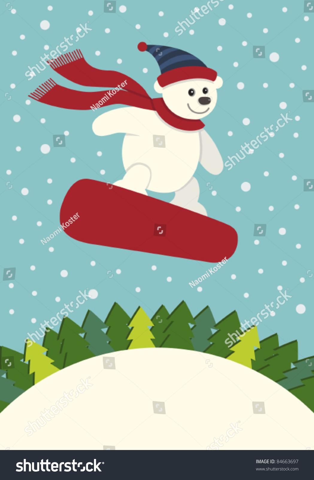 北极熊滑雪向量-假期,动物/野生生物-海洛创意()