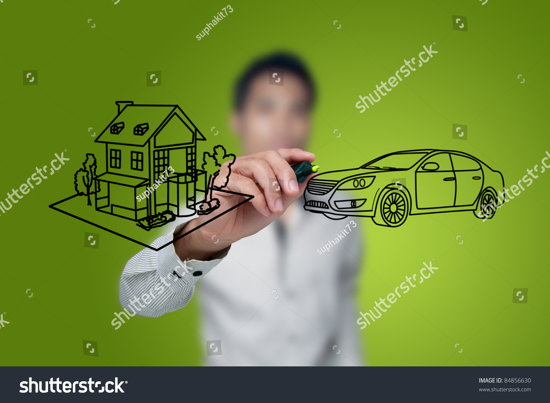 手画在白板上房子和汽车图片