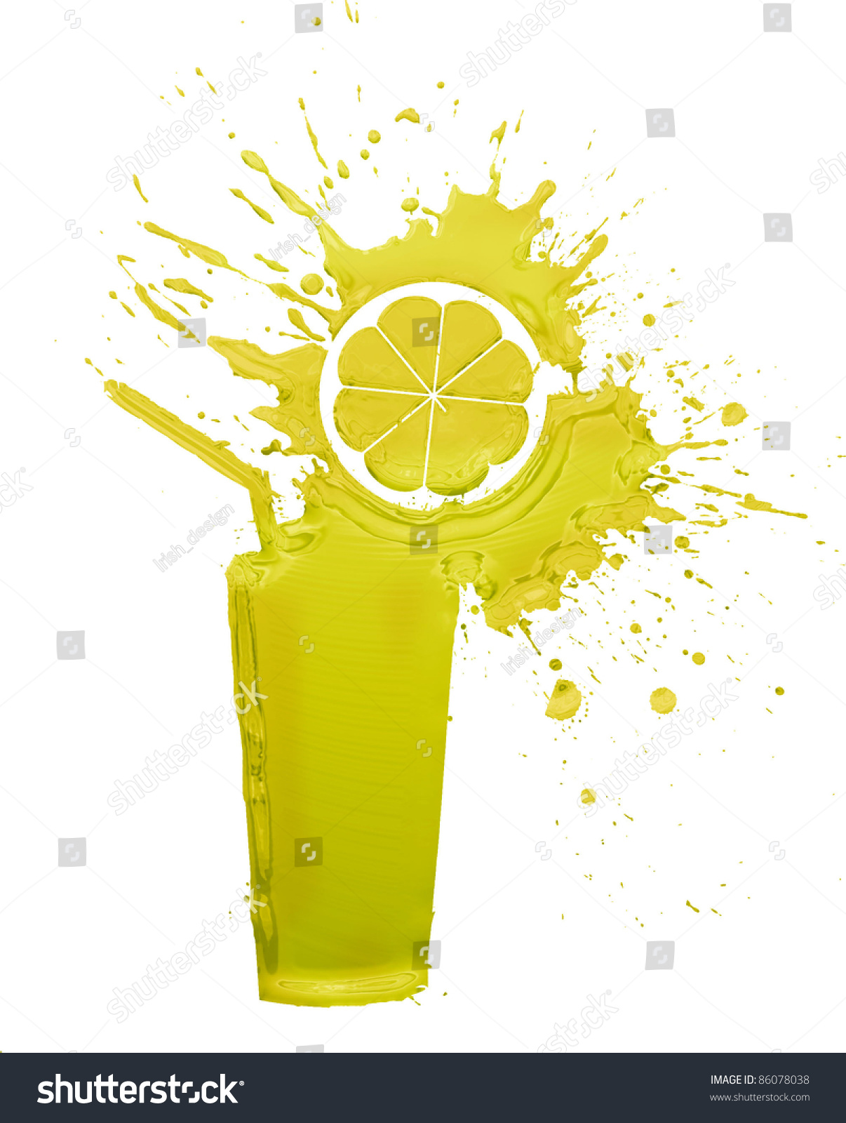 柠檬汁溅孤立在白色的-假期
