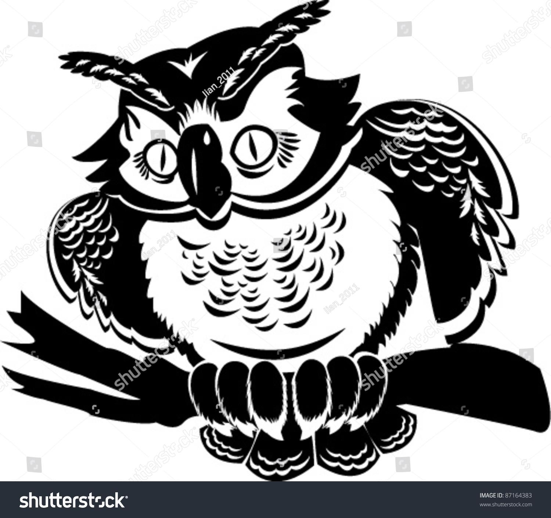 可爱的猫头鹰在树枝上.黑白图像-动物/野生生物,自然