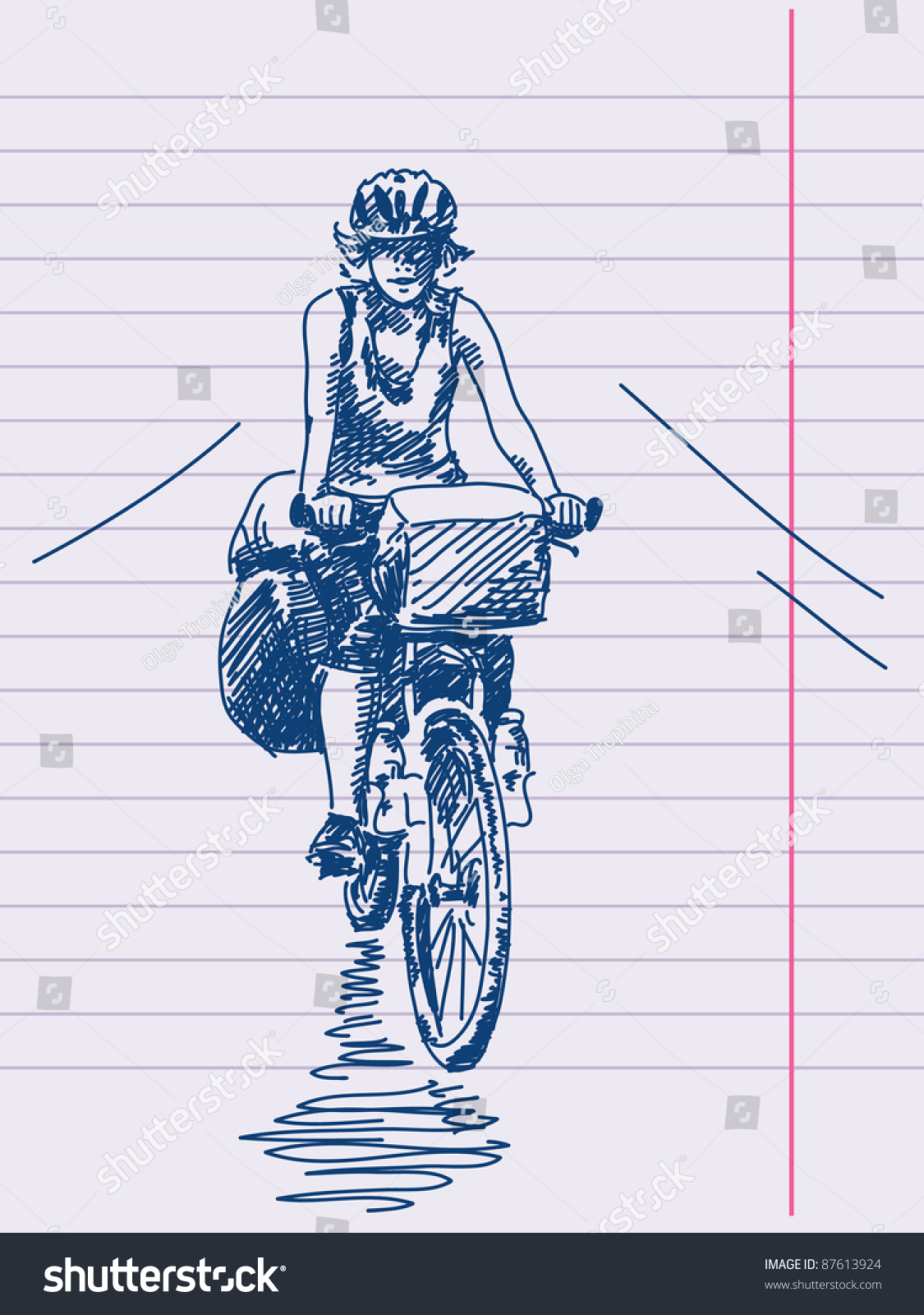 手绘的女孩骑自行车的载体-运动/娱乐活动