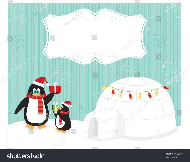 圣诞贺卡和企鹅和对你的文本框架