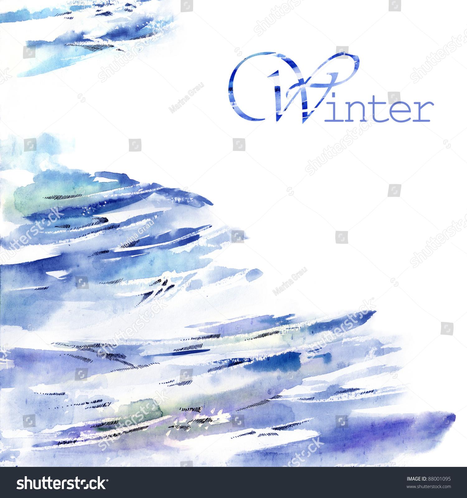 水彩画的冬天,-背景/素材,抽象-海洛创意(hellorf)--.
