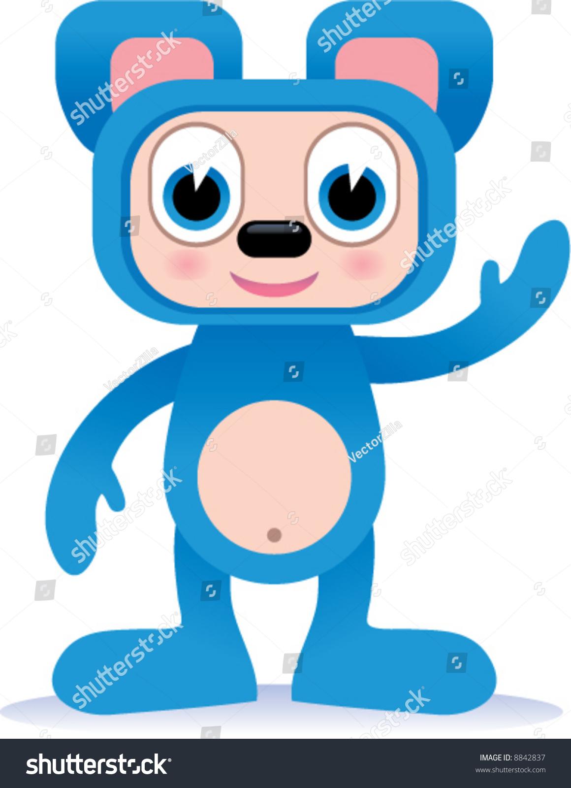 可爱的蓝色动物身体适合人物矢量图-动物/野生生物