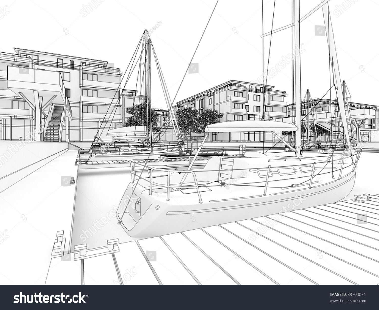 手绘码头保护环境