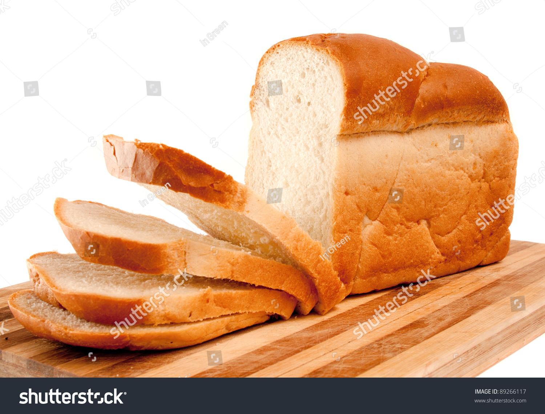 新鲜的小麦切片面包只电冰箱董事会在白色的-食品及