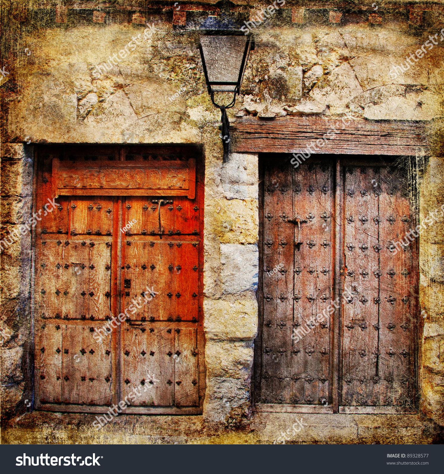 中世纪西班牙的旧门-复古画-复古风格,建筑物/地标-()图片