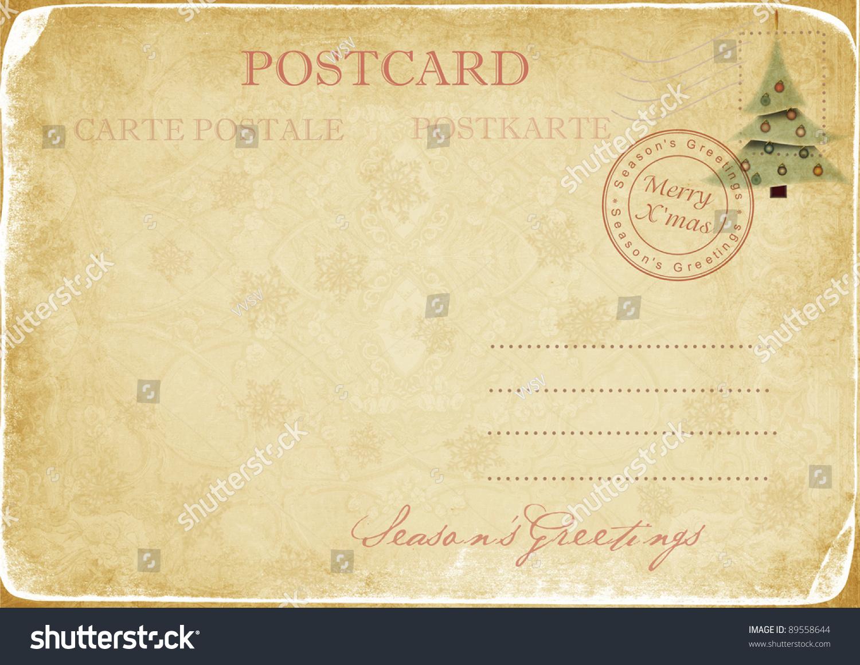 老式圣诞节明信片-背景/素材