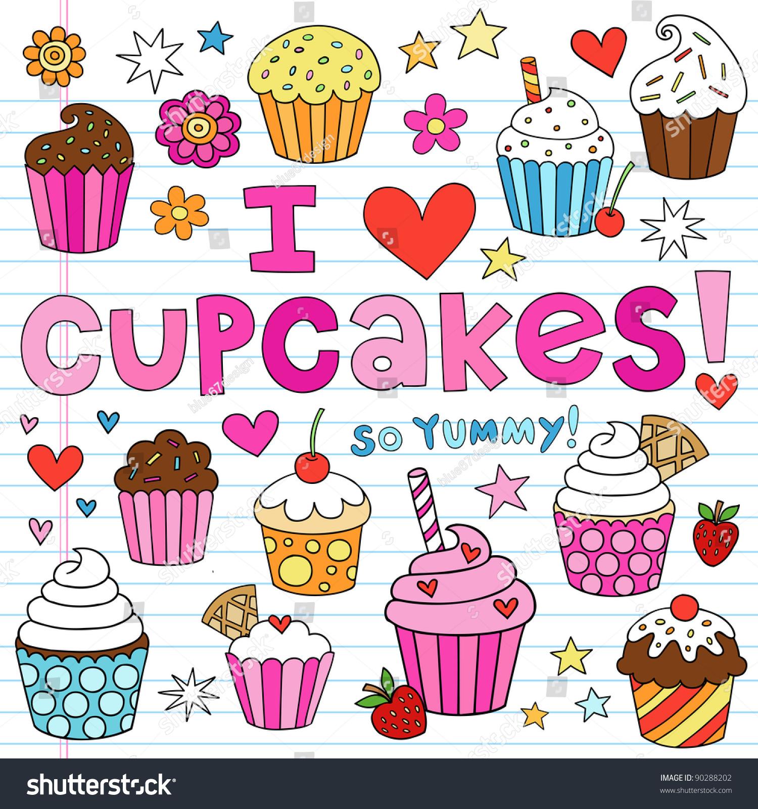手绘蛋糕甜点笔记本涂鸦设计元素上设置着素描本论文