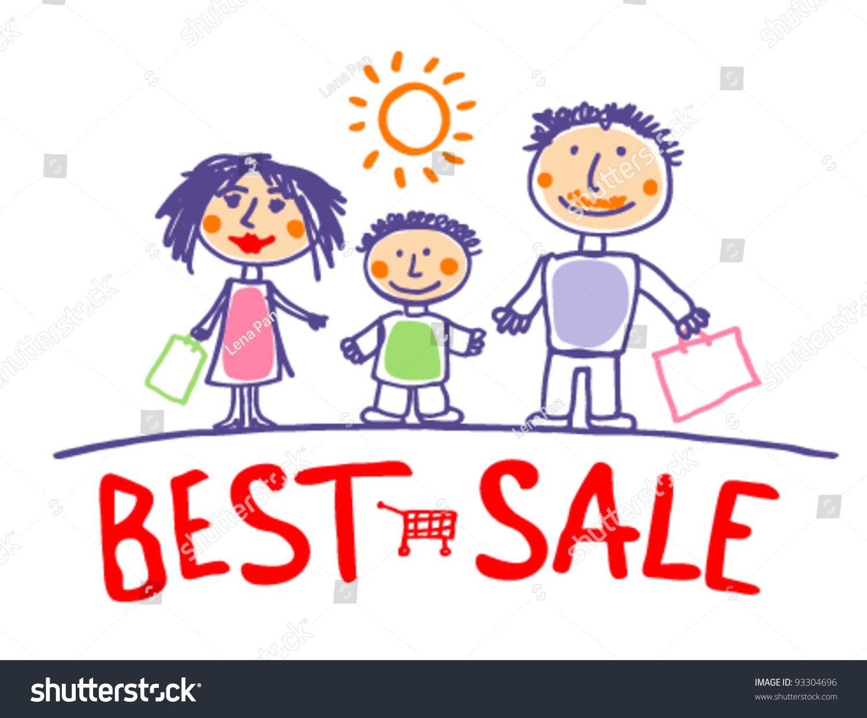 最好的销售手绘插图和幸福的家庭