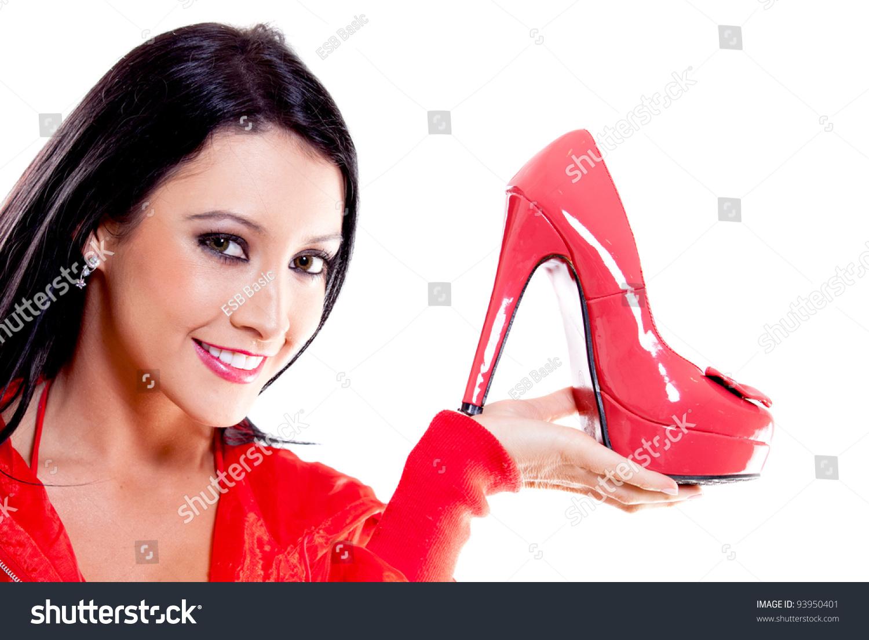 与红色高跟鞋女人——孤立在白色背景