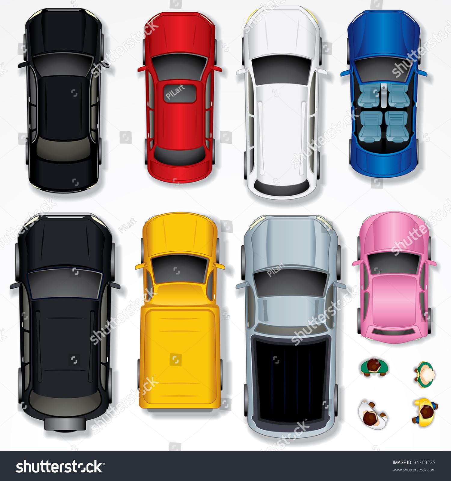 集各种孤立的汽车,顶视图的位置