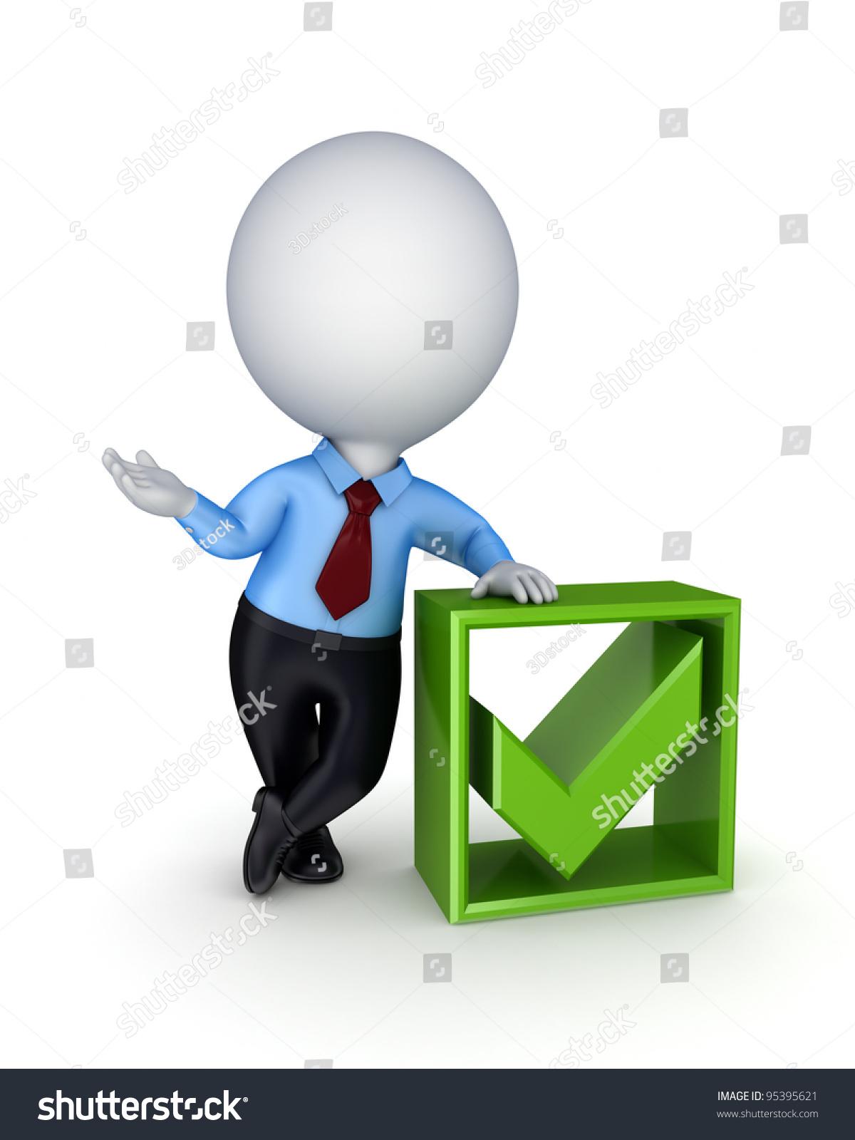 三维小人物和绿色的勾号标记.白色背景的孤立.-商业