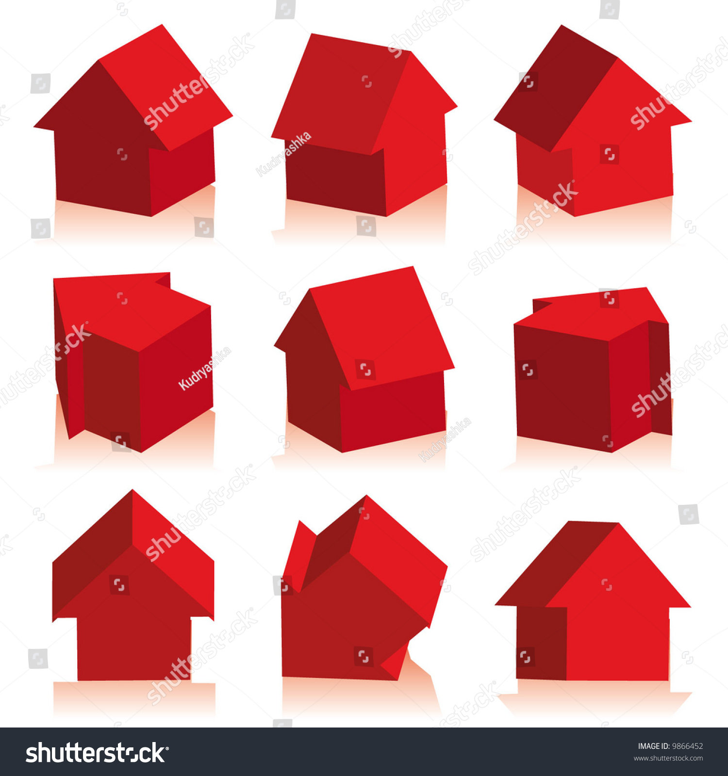 收藏的房子红色,图标-插图/剪贴图